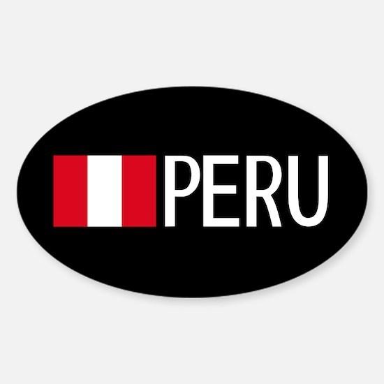 Peru: Peruvian Flag & Peru Sticker (Oval)