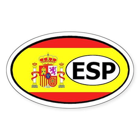 Spain Flag Oval Sticker