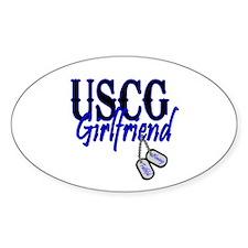 USCG Girlfriend Dog Tag Oval Decal