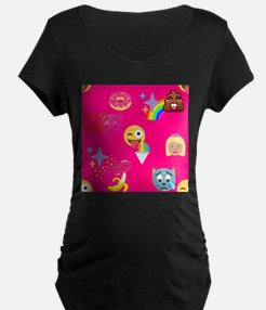 hot pink emoji Maternity T-Shirt