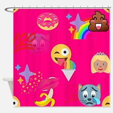 hot pink emoji Shower Curtain