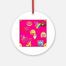 hot pink emoji Round Ornament