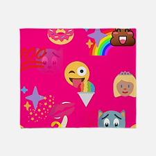 hot pink emoji Throw Blanket
