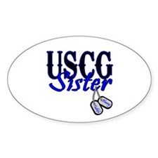 USCG Sister Dog Tag Oval Decal