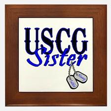 USCG Sister Dog Tag Framed Tile