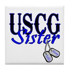 USCG Sister Dog Tag Tile Coaster