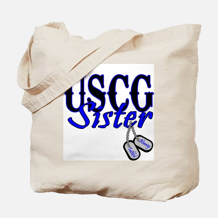 USCG Sister Dog Tag Tote Bag