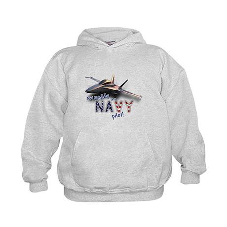 Daddy Navy Pilot (F-18) Kids Hoodie