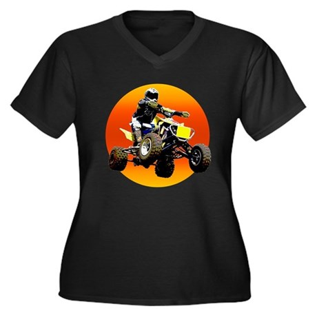 ATV Racing to Sunset Women's Plus Size V-Neck Dark