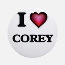 I love Corey Round Ornament