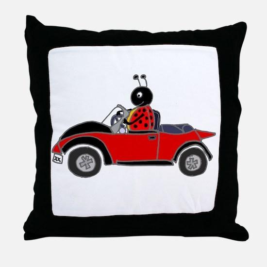 Ladybug Driving Bug Throw Pillow