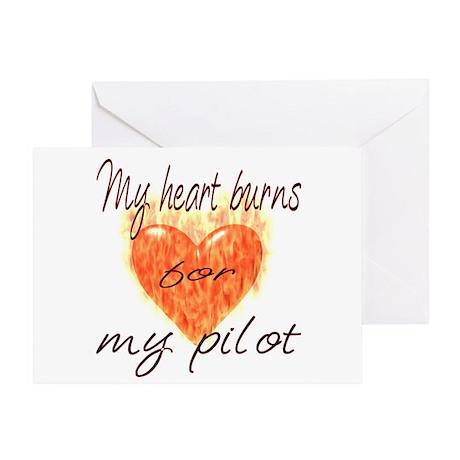 Burning Heart Pilot Greeting Card