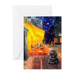 Cafe / Black Cocker Greeting Card