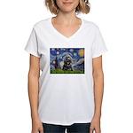 Starry Night / Black Cocke Women's V-Neck T-Shirt