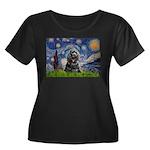 Starry Night / Black Cocke Women's Plus Size Scoop