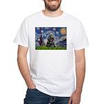 Starry Night / Black Cocke White T-Shirt