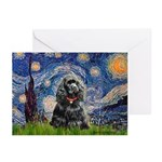 Starry Night / Black Cocke Greeting Cards (Pk of 2