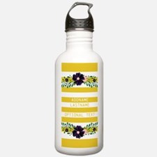 Flowers and Yellow Str Water Bottle