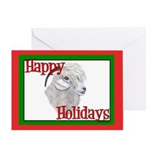 Angora Goat Happy Holidays-AngelFace Greeting Card