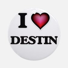I love Destin Round Ornament