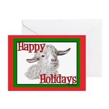 Angora Goat Happy Holidays-Sabrina Greeting Cards