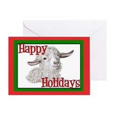 Angora Goat Happy Holidays-Sabrina Greeting Card
