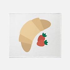 Strawberry Croissant Throw Blanket