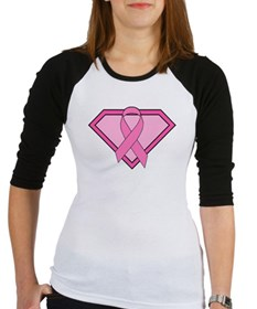 Superhero Shield Pink Ribbon Baseball Jersey
