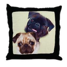Pug Art Throw Pillow - Pug Pair