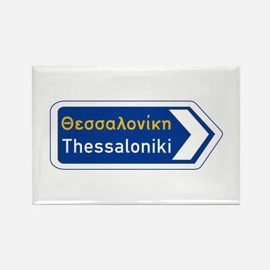 Thessaloniki, Road Sign, Greece Rectangle Magnet