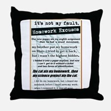 Homework Excuses Throw Pillow