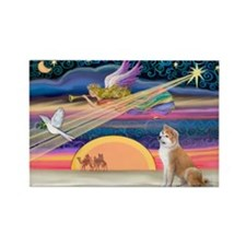 Xmas Star & Shiba Inu Rectangle Magnet (10 pack)
