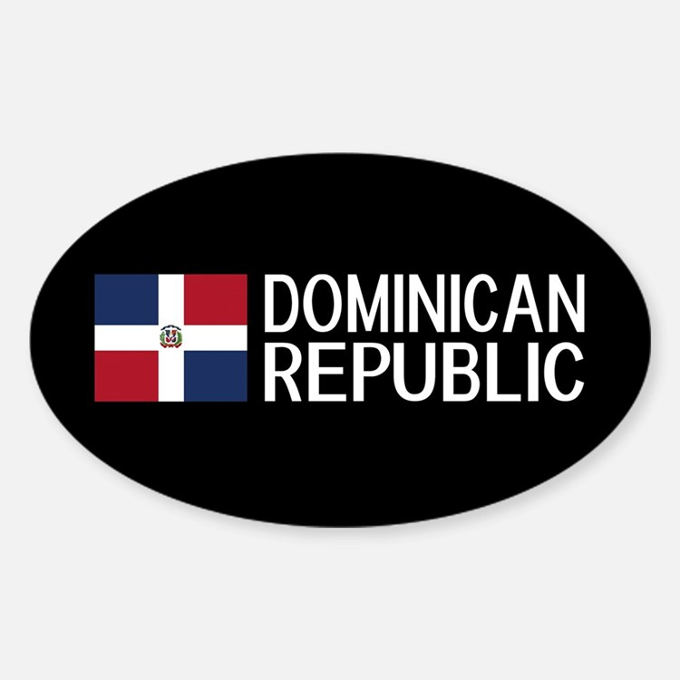 Dominican Republic: Dominican Flag Sticker (Oval)