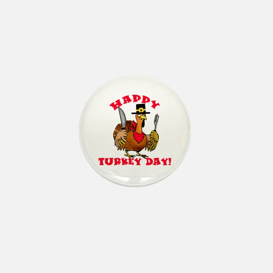 Happy Turkey Day Mini Button (10 pack)