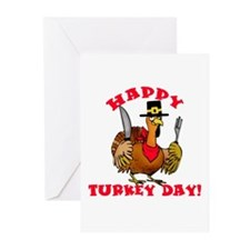 Happy Turkey Day Thanksgiving Greeting Cards (Pk o