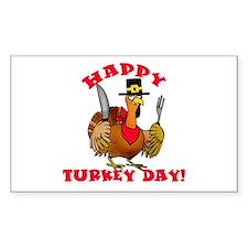 Happy Turkey Day Thanksgiving Sticker (Rectangular
