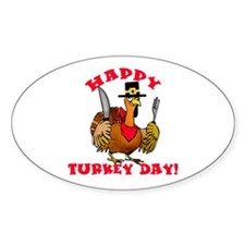 Happy Turkey Day Thanksgiving Oval Decal
