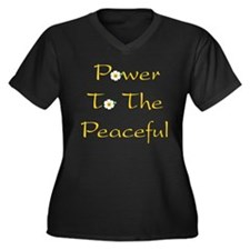 Power To The Peaceful Women's Plus Size V-Neck Dar