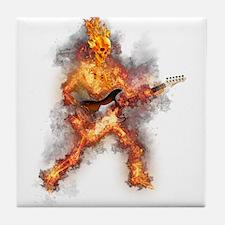 Fire Skeleton Guitarist Tile Coaster