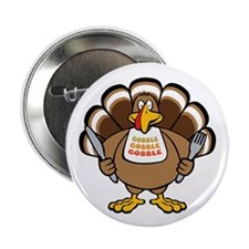 "Gobble Turkey 2.25"" Button (10 pack)"