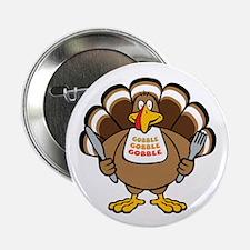 "Gobble Turkey 2.25"" Button (10 pack)"