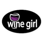 Wine Girl Oval Sticker