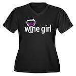 Wine Girl Women's Plus Size V-Neck Dark T-Shirt
