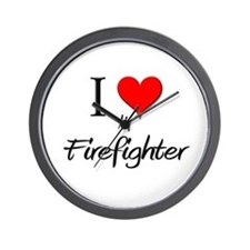 I Love My Firefighter Wall Clock