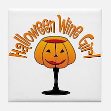 Halloween Wine Girl Tile Coaster