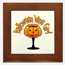 Halloween Wine Girl Framed Tile