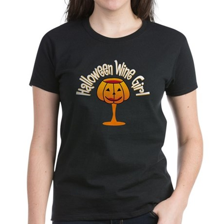 Halloween Wine Girl Women's Dark T-Shirt
