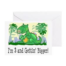I'm 3 Dinosaur Birthday Greeting Card