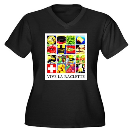 Vive la Raclette! Women's Plus Size V-Neck Dark T-