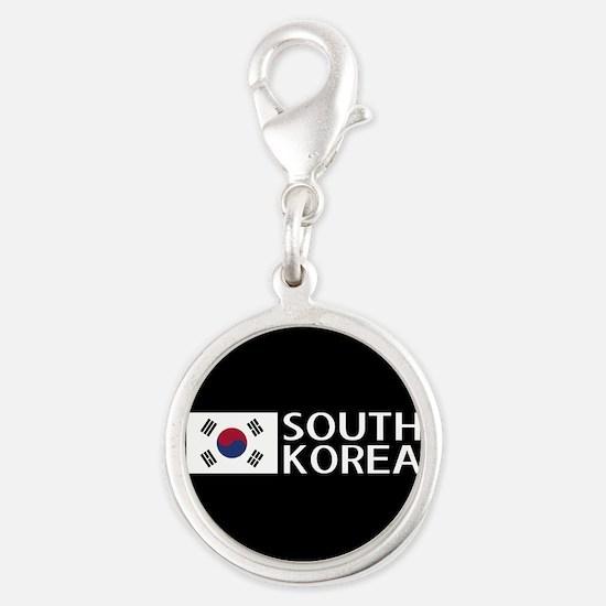 South Korea: South Korean Flag Silver Round Charm